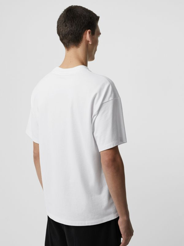 Chequer EKD Cotton T-shirt in White - Men | Burberry United States - cell image 2