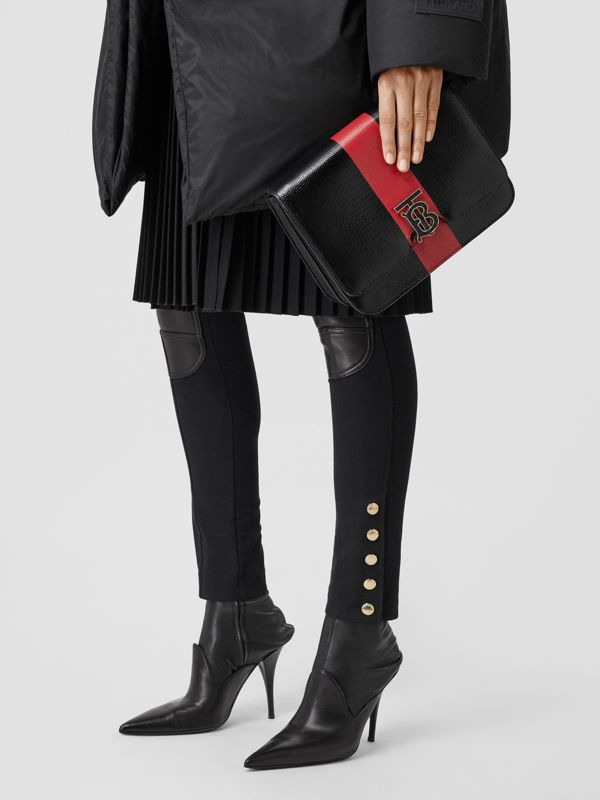 Medium Striped Embossed Leather TB Bag in Black - Women | Burberry United States - cell image 2