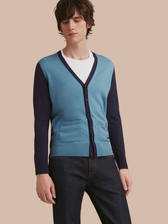 V-neck Two-tone Merino Wool Cardigan