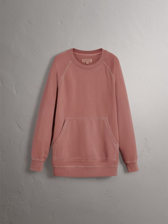 Unisex Pigment-dyed Cotton Oversize Sweatshirt in Dusty Mauve - Men | Burberry Canada - cell image 3