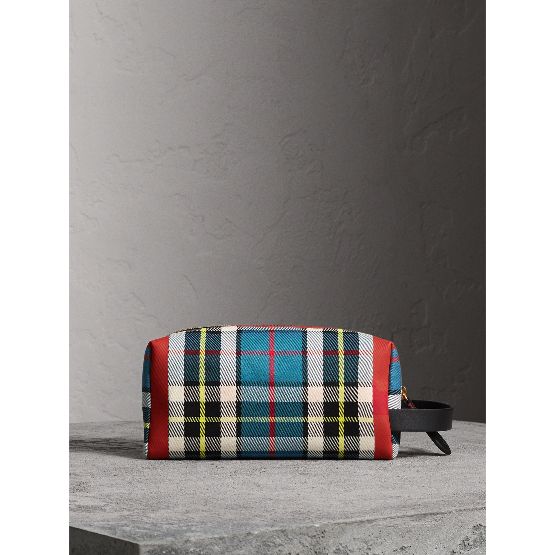 Tartan Cotton Pouch in Blue | Burberry - gallery image 7