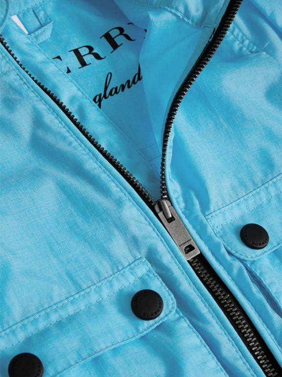 Showerproof Hooded Jacket in Bright Turquoise - Children | Burberry United Kingdom - cell image 1