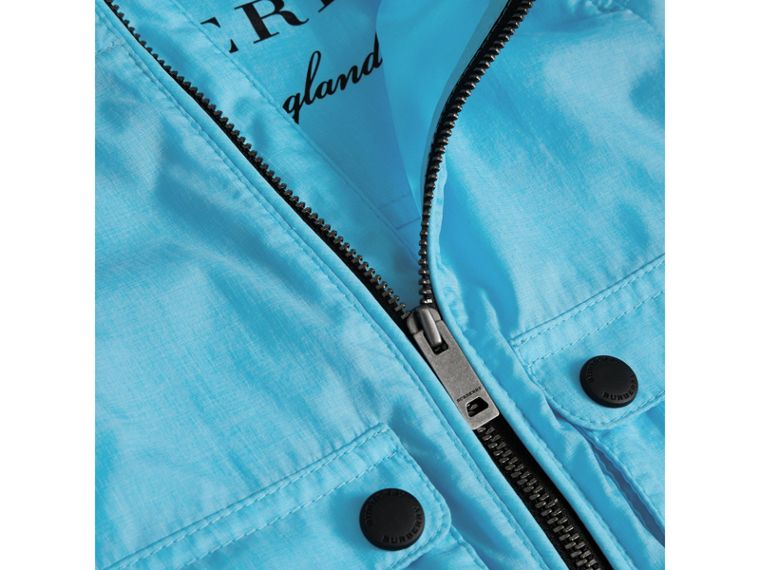 Showerproof Hooded Jacket in Bright Turquoise | Burberry - cell image 1
