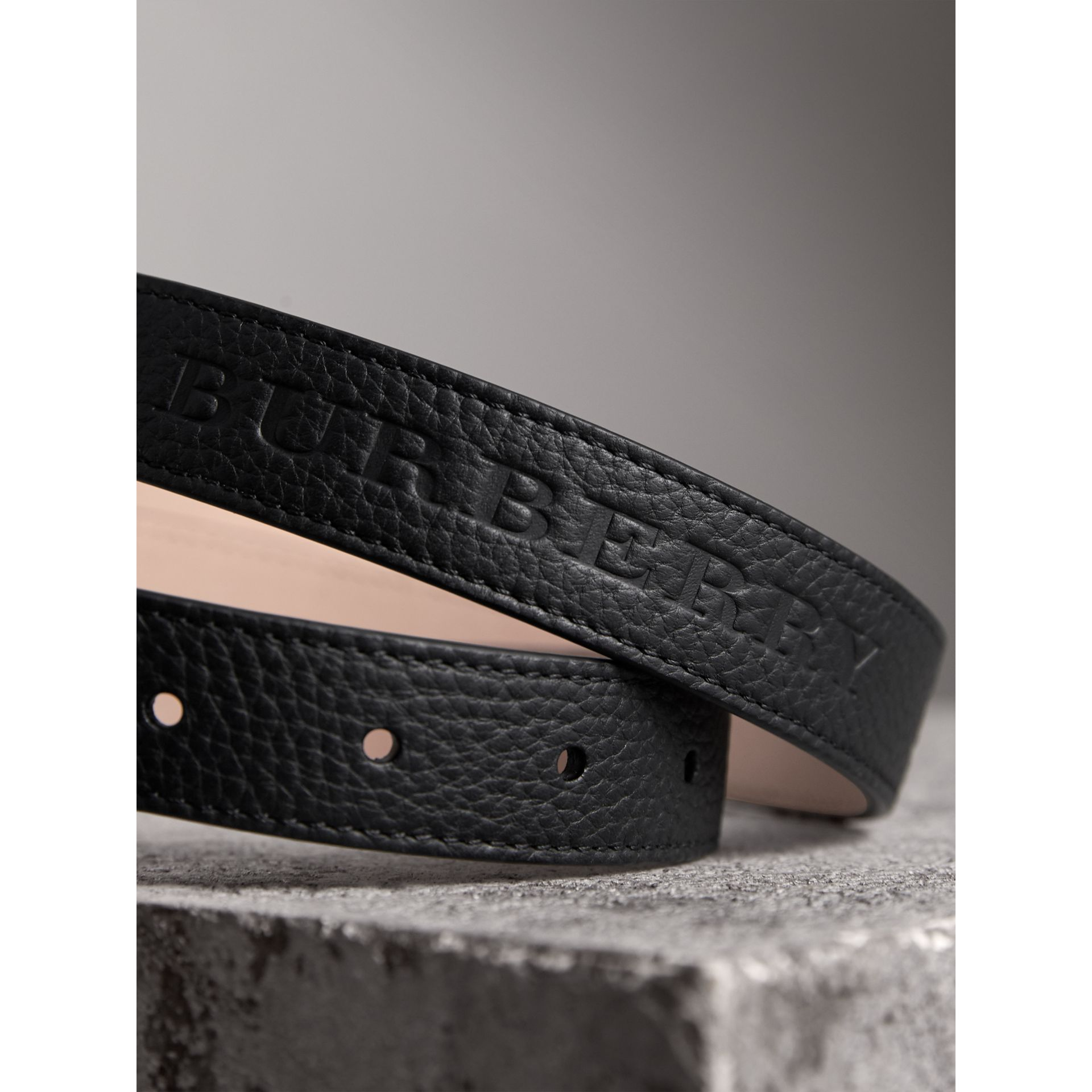 Embossed Leather Belt in Black - Women | Burberry - gallery image 2
