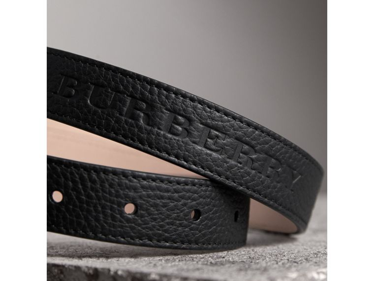 Embossed Leather Belt in Black - Women | Burberry United States - cell image 1
