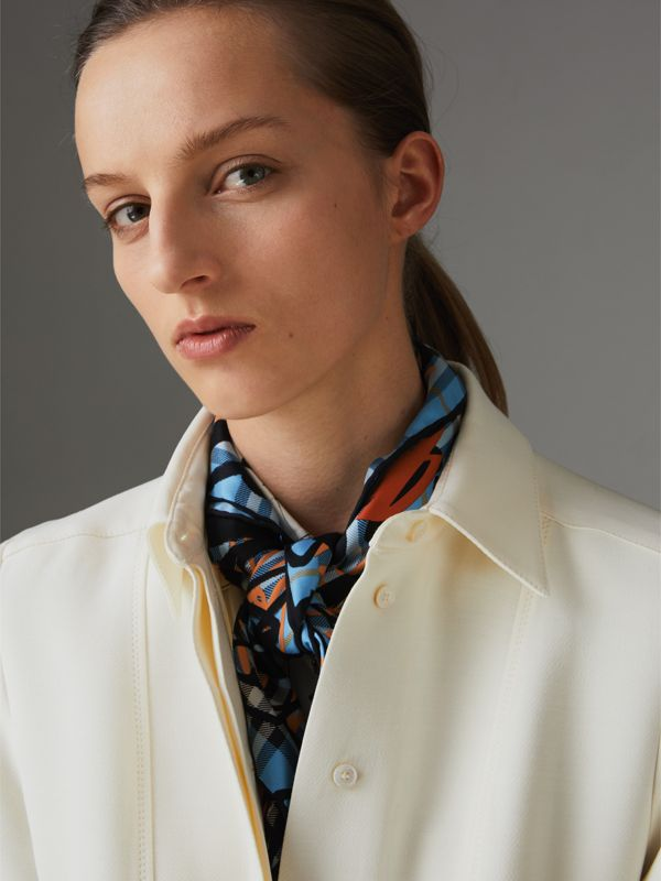 Scribble Check Silk Square Scarf in Light Azure | Burberry - cell image 3