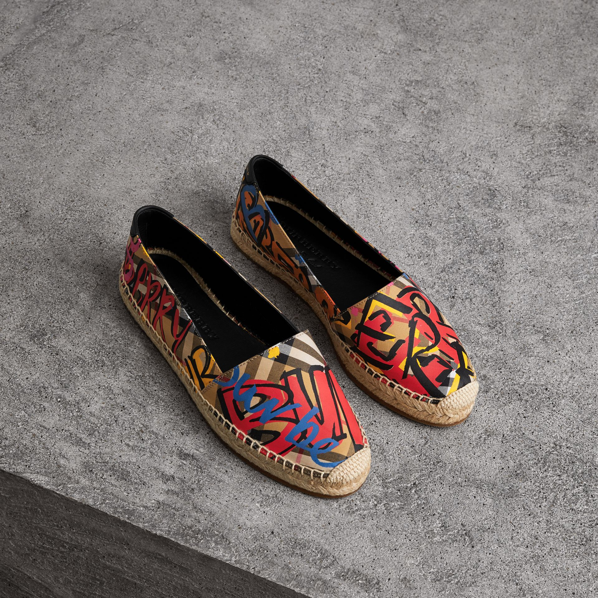 Graffiti Print Vintage Check Espadrilles in Antique Yellow - Women | Burberry Hong Kong - gallery image 0