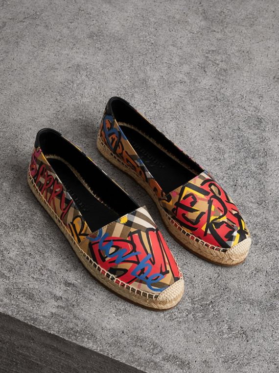 Graffiti Print Vintage Check Espadrilles in Antique Yellow