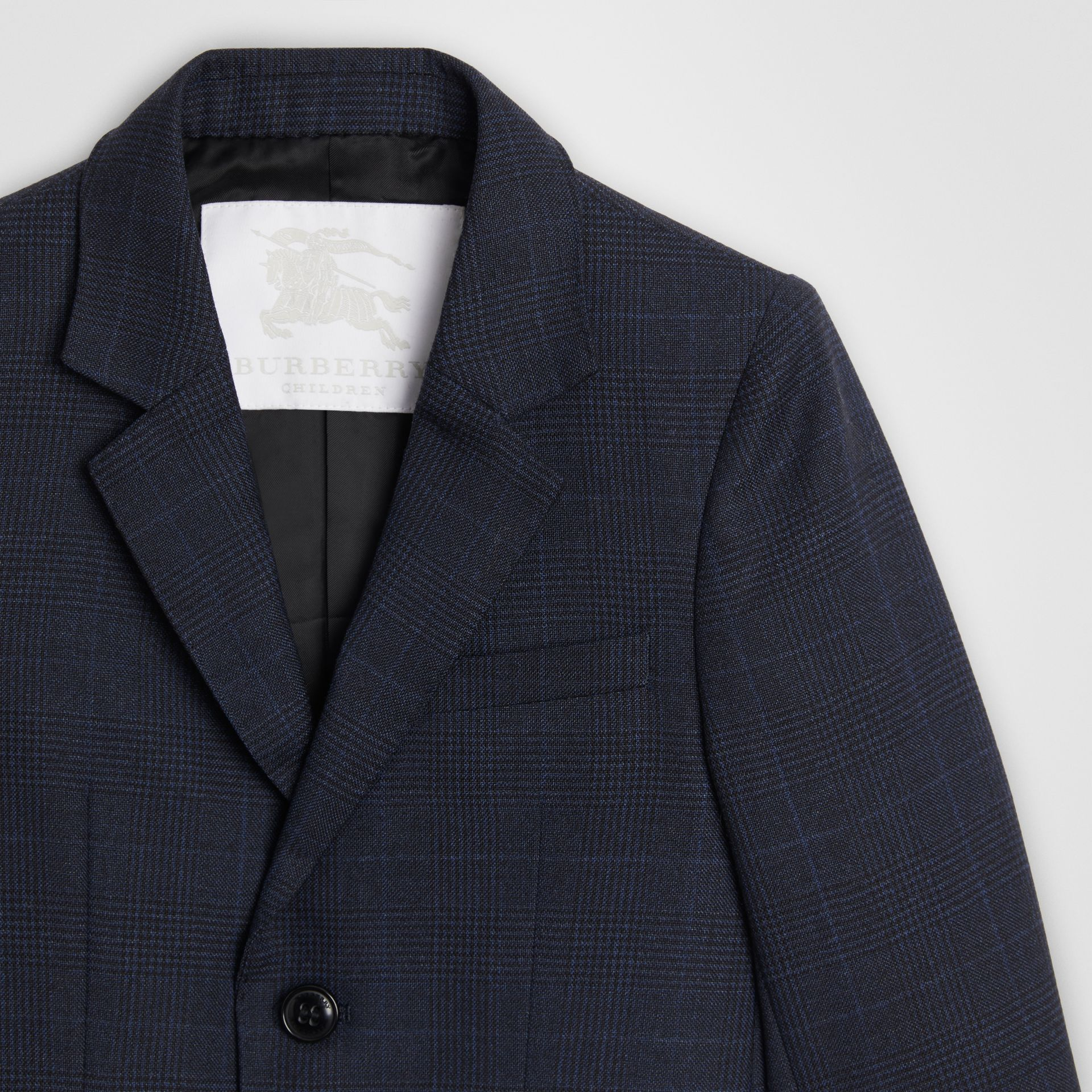 Prince of Wales Check Wool Blazer in Bright Navy | Burberry United Kingdom - gallery image 4