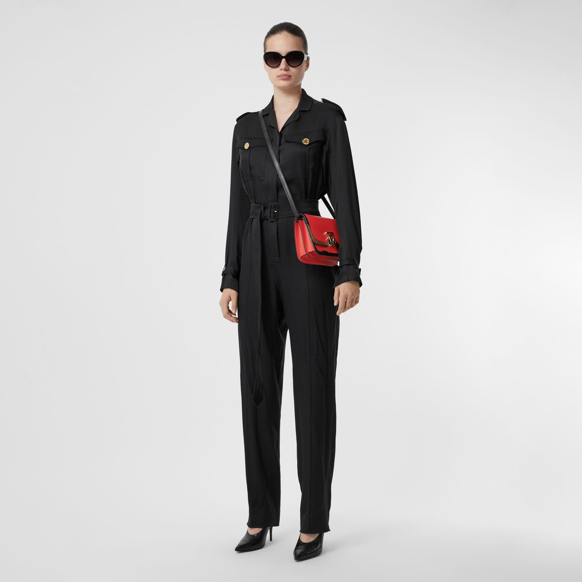 Small Appliqué Leather TB Bag in Bright Red - Women | Burberry United States - gallery image 8