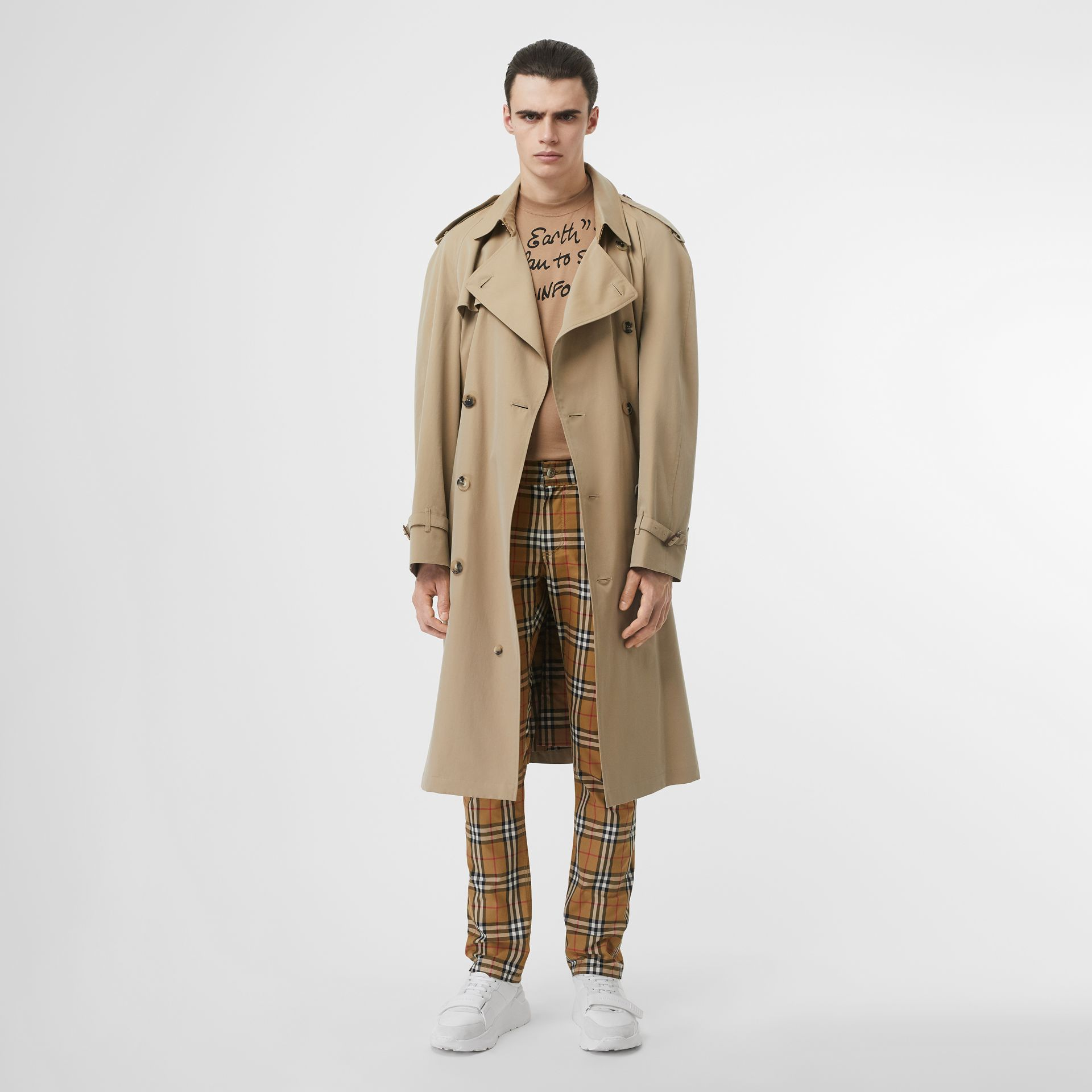 Zip Detail Vintage Check Cotton Trousers in Antique Yellow | Burberry United Kingdom - gallery image 0