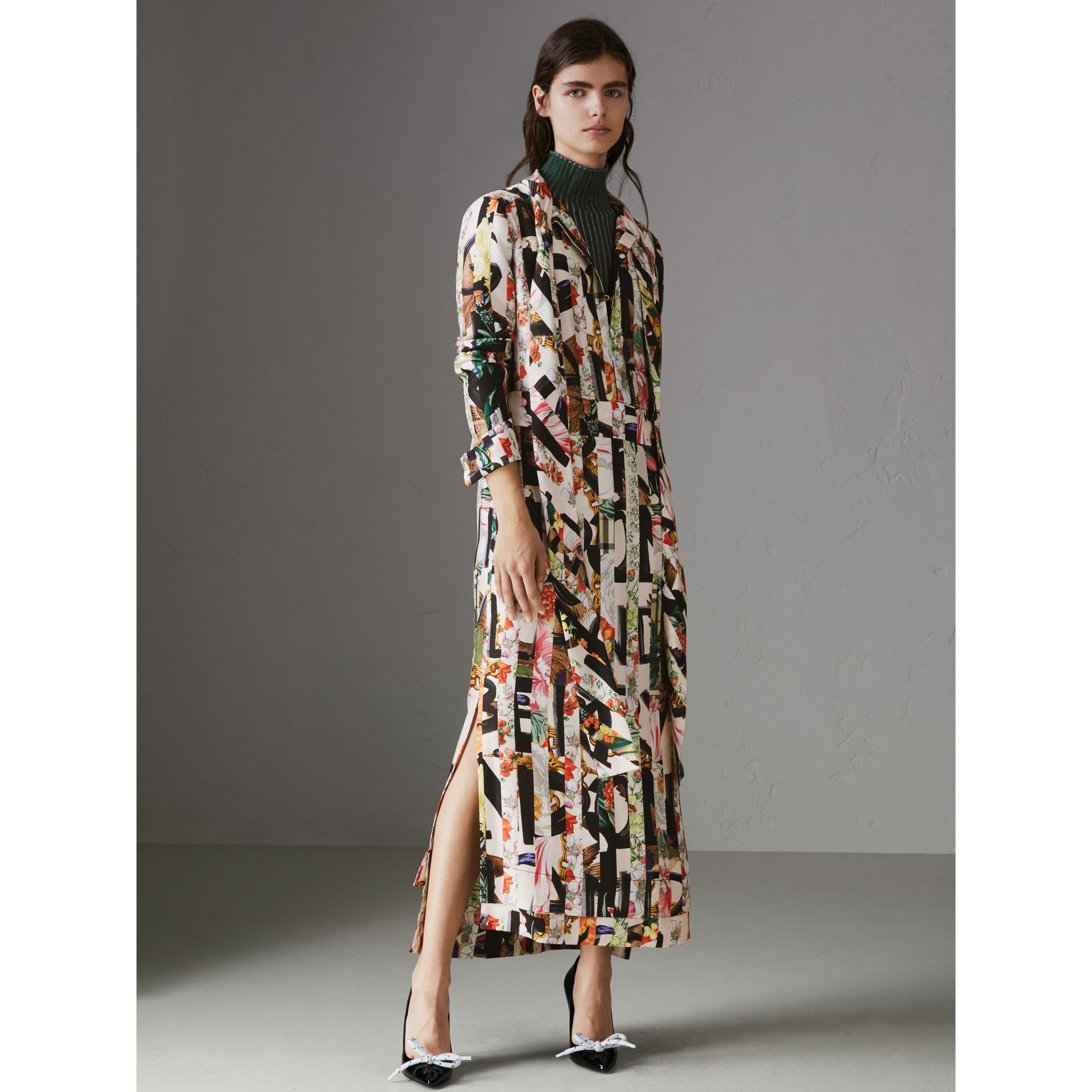 Graffiti Archive Scarf Print Silk Tie-neck Dress in Multicolour - Women | Burberry - gallery image 4