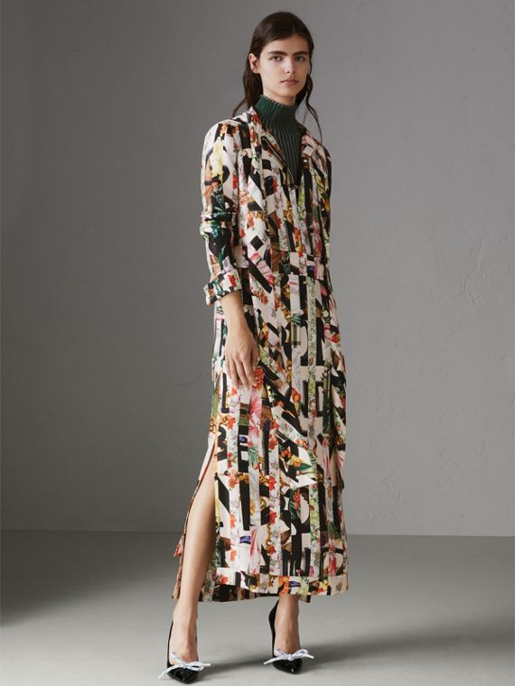 Graffiti Archive Scarf Print Silk Tie-neck Dress in Multicolour