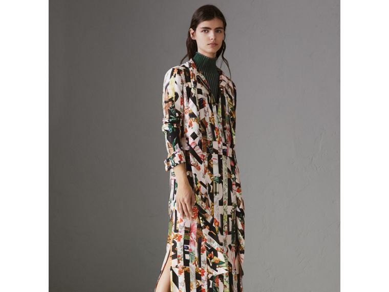 Graffiti Archive Scarf Print Silk Tie-neck Dress in Multicolour - Women | Burberry - cell image 4