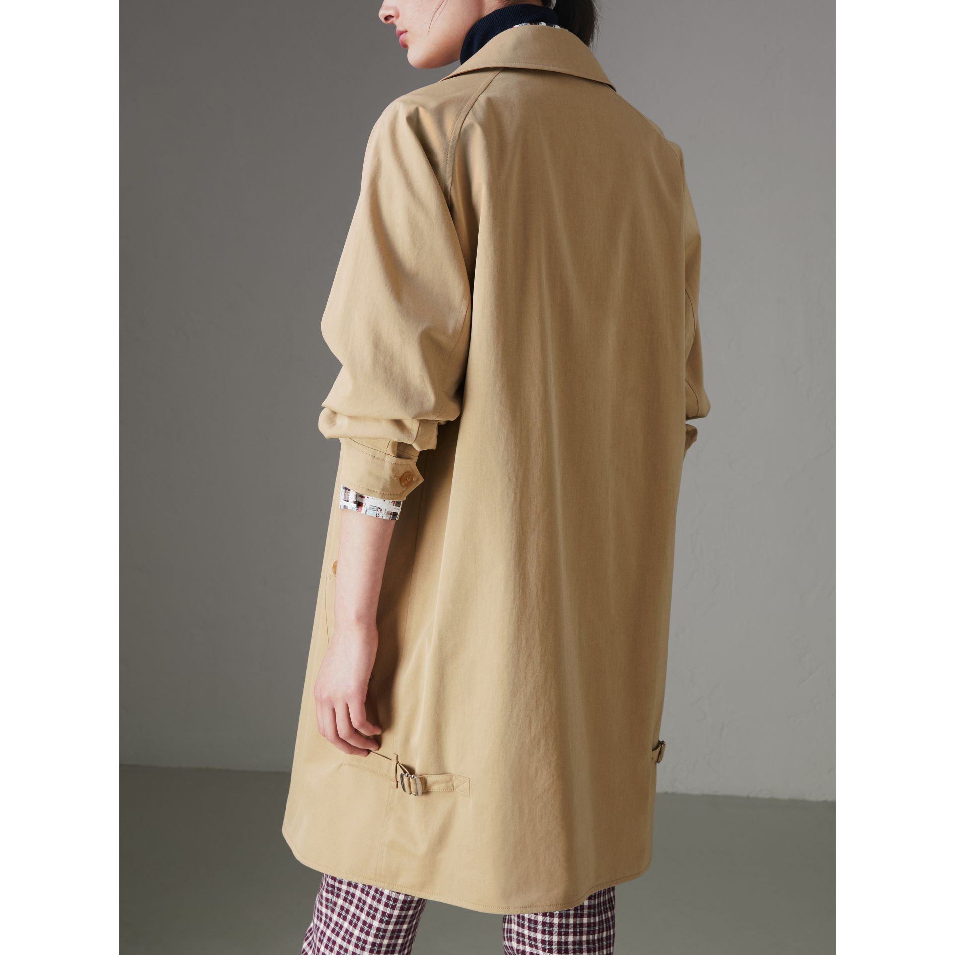 Tropical Gabardine Car Coat in Oatmeal - Women | Burberry - gallery image 2