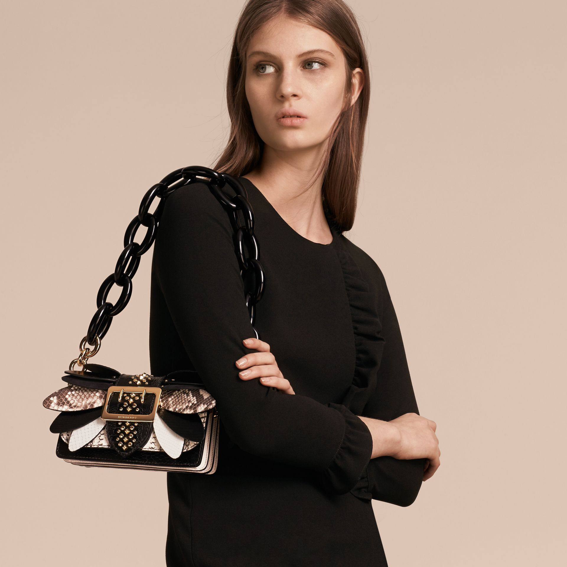 The Small Buckle Bag in Leather and Snakeskin Appliqué in Black/white - Women | Burberry - gallery image 8