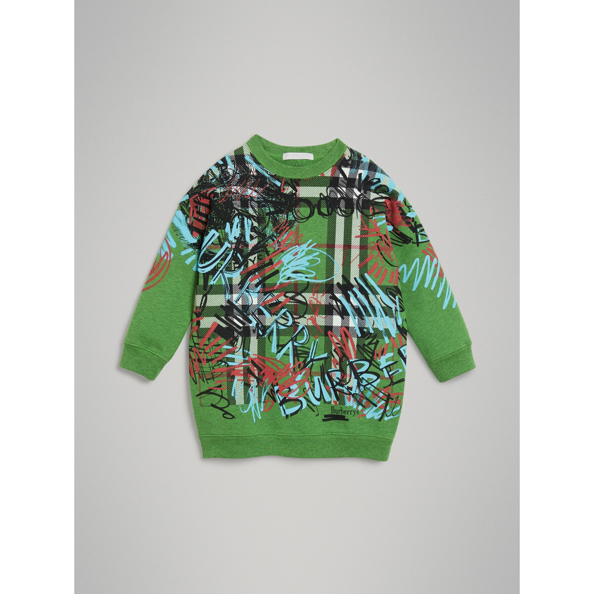Graffiti Scribble Check Print Cotton Sweatshirt in Lime Green - Girl | Burberry - gallery image 0