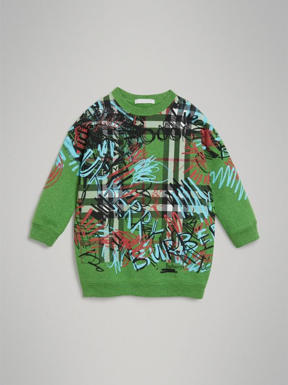 Graffiti Scribble Check Print Cotton Sweatshirt in Lime Green