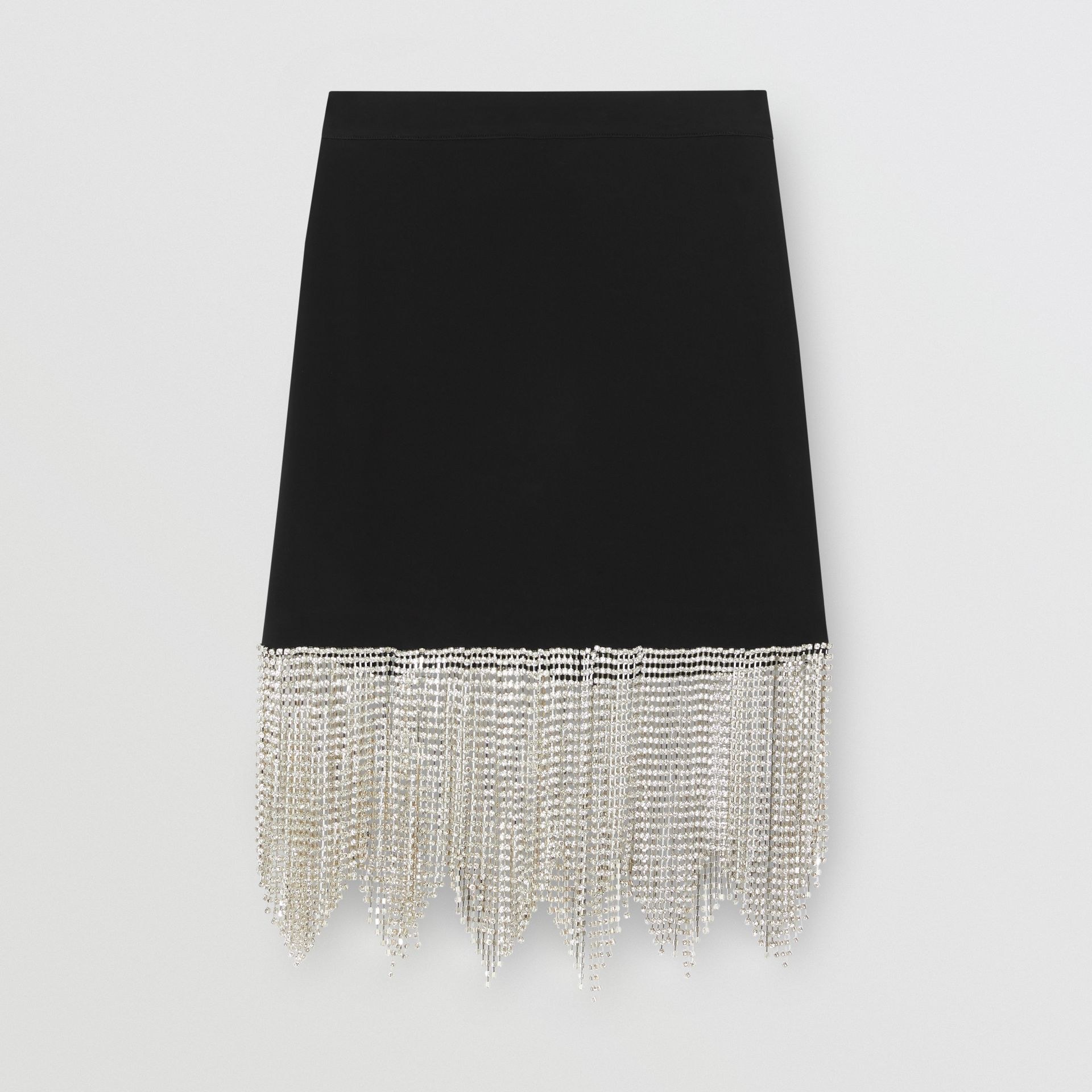 Crystal Fringe Stretch Knit Mini Skirt in Black - Women | Burberry - gallery image 3