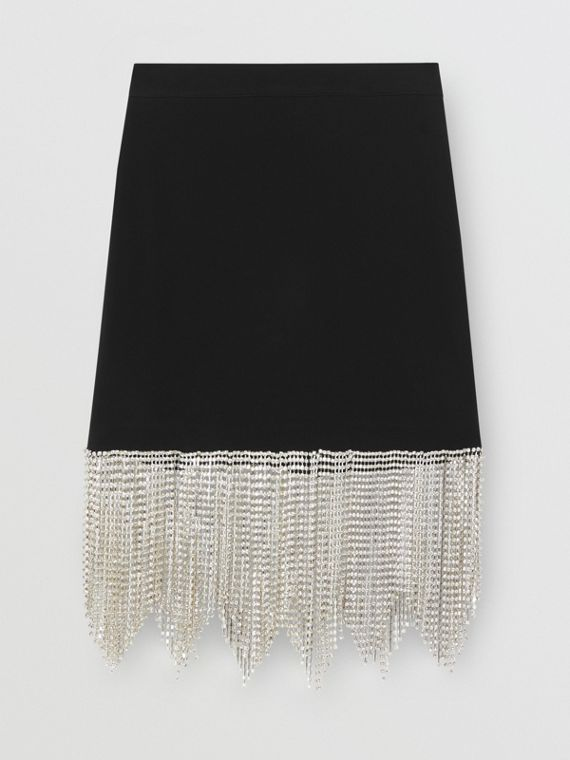 Crystal Fringe Stretch Knit Mini Skirt in Black