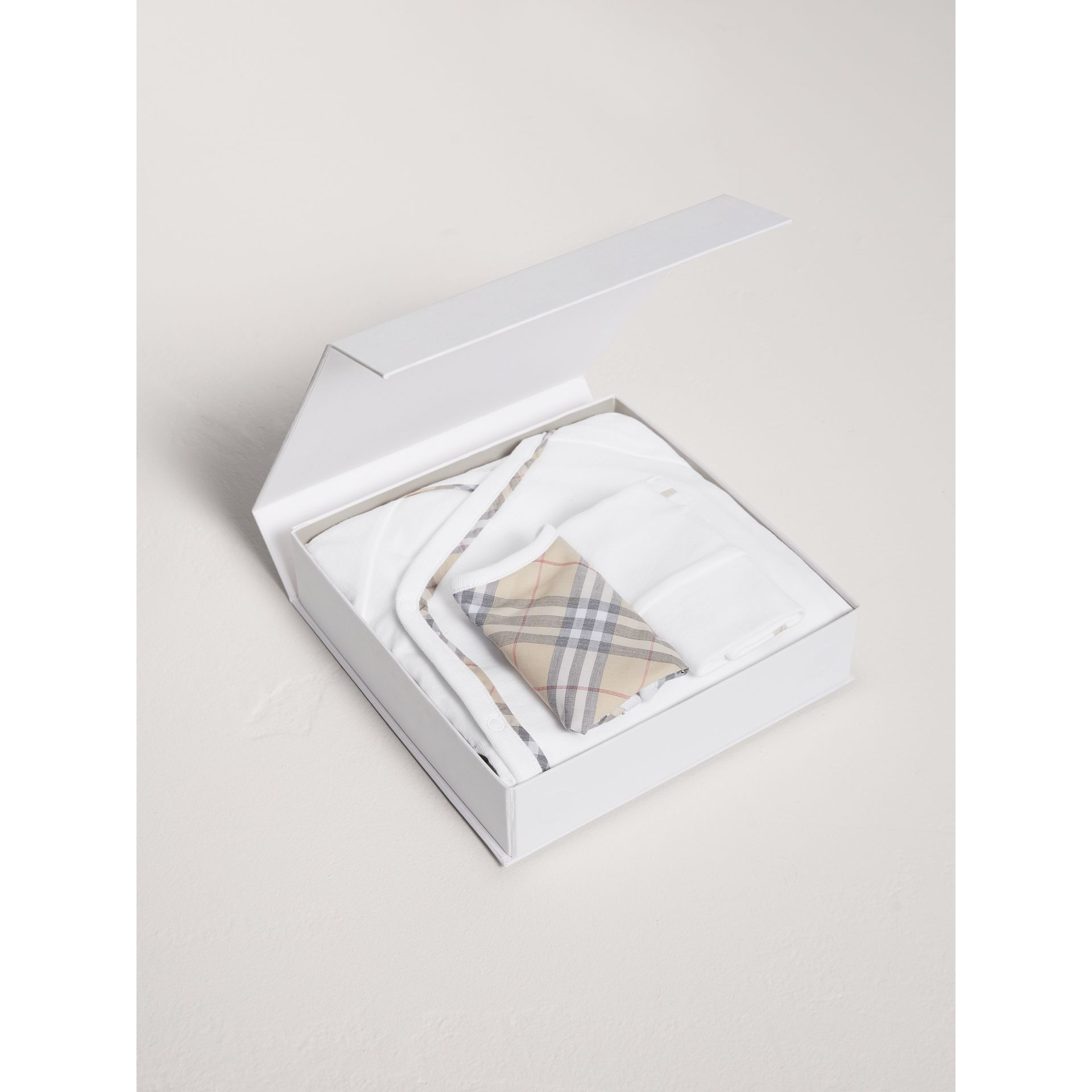 Check Cotton Three-piece Baby Gift Set in White | Burberry United States - gallery image 2