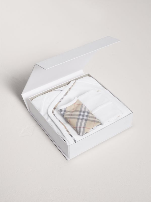 Check Cotton Three-piece Baby Gift Set in White | Burberry United States - cell image 2