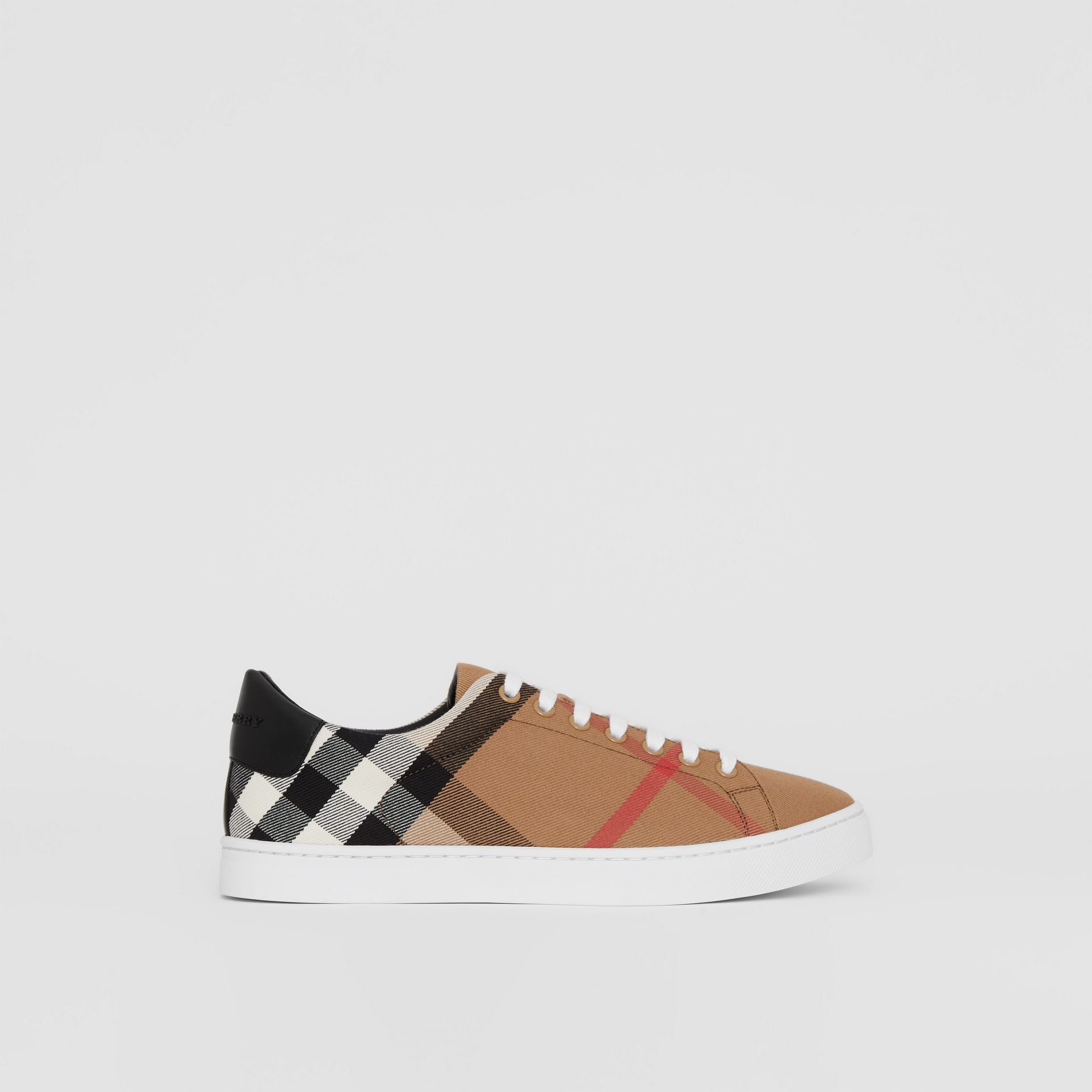 House Check and Leather Sneakers in Check/black - Men | Burberry - gallery image 4