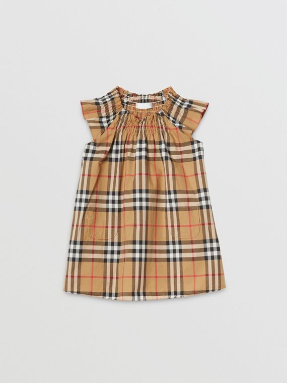 Smocked Vintage Check Cotton Dress in Antique Yellow