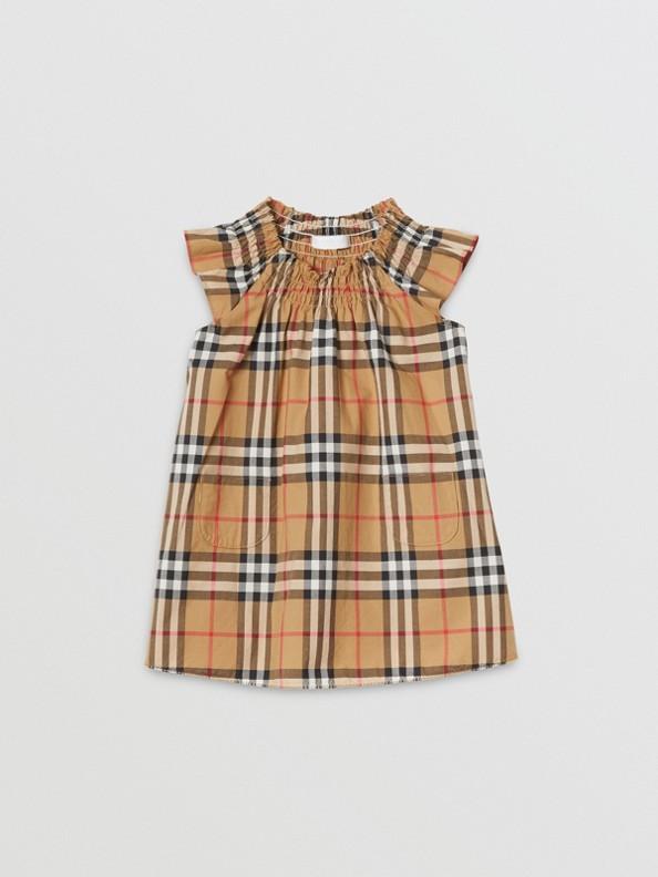 스목 빈티지 체크 코튼 드레스 (앤티크 옐로)