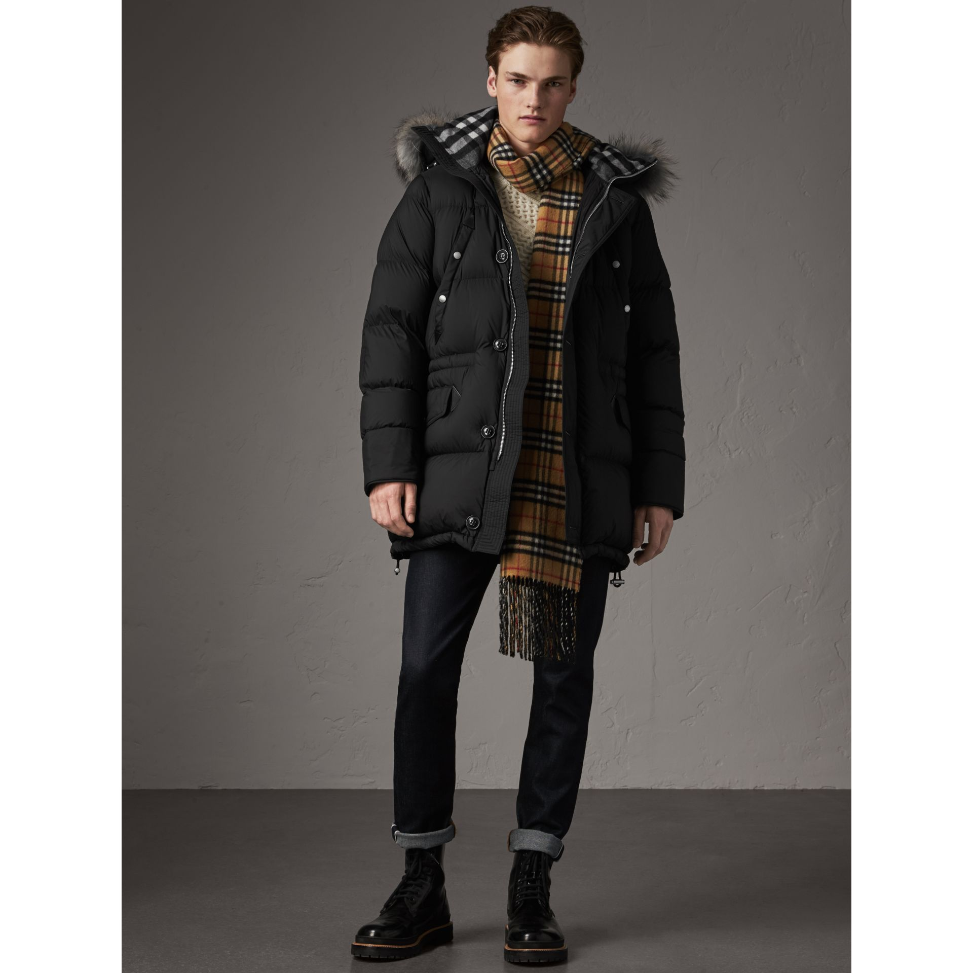 Detachable Raccoon Fur Trim Hood Down-filled Parka in Black - Men | Burberry - gallery image 6