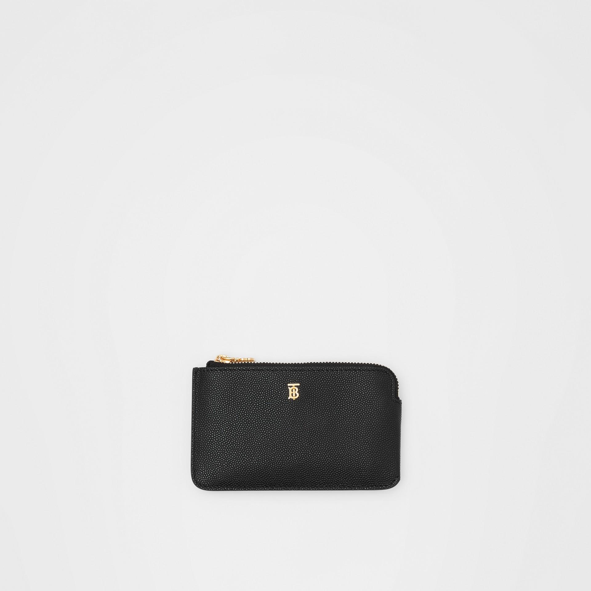 Monogram Motif Grainy Leather Zip Coin Case in Black - Women | Burberry - gallery image 0