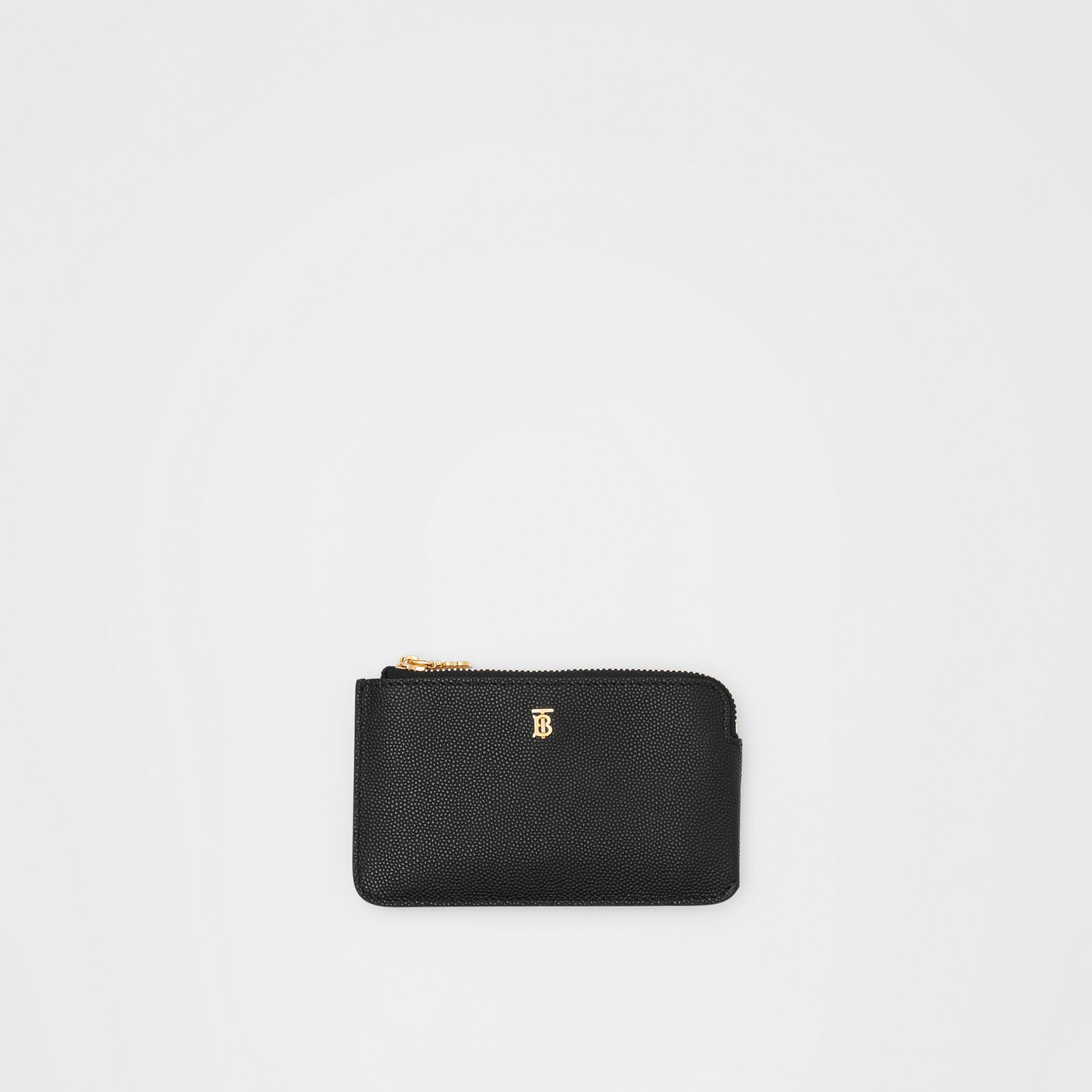 Monogram Motif Grainy Leather Zip Coin Case in Black - Women | Burberry - 1