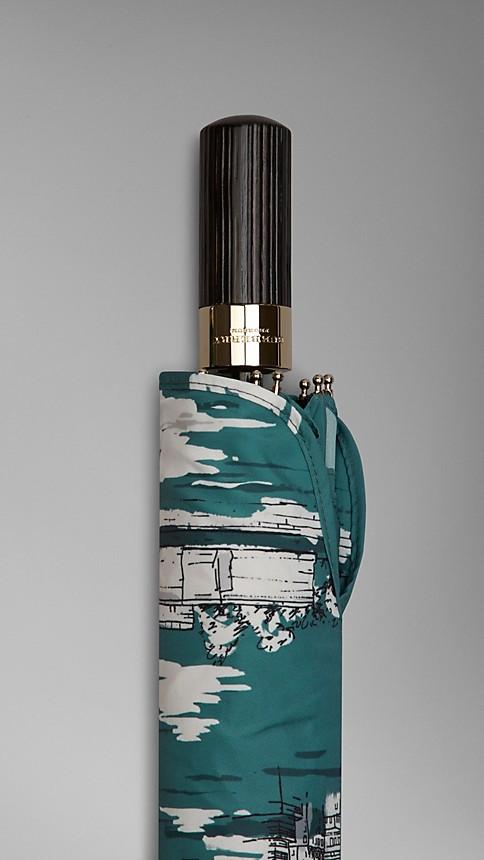 Dark cyan New York Landmarks Folding Umbrella - Image 4