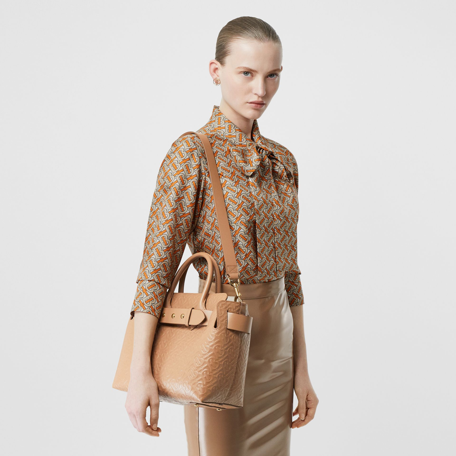 The Small Monogram Leather Triple Stud Belt Bag in Light Camel - Women | Burberry Canada - gallery image 2