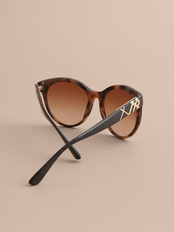 Check Detail Round Frame Sunglasses in Amber - Women | Burberry United Kingdom - cell image 3