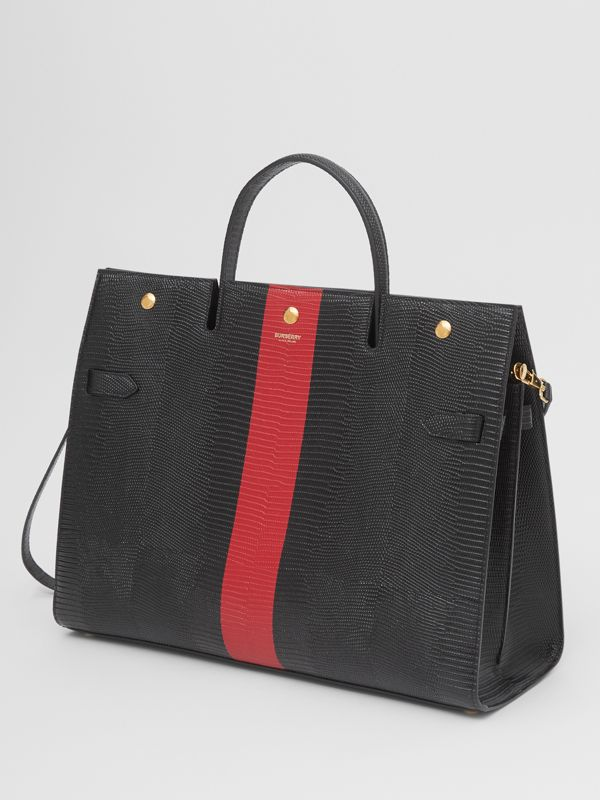 Large Striped Embossed Leather Title Bag in Black - Women | Burberry Australia - cell image 2