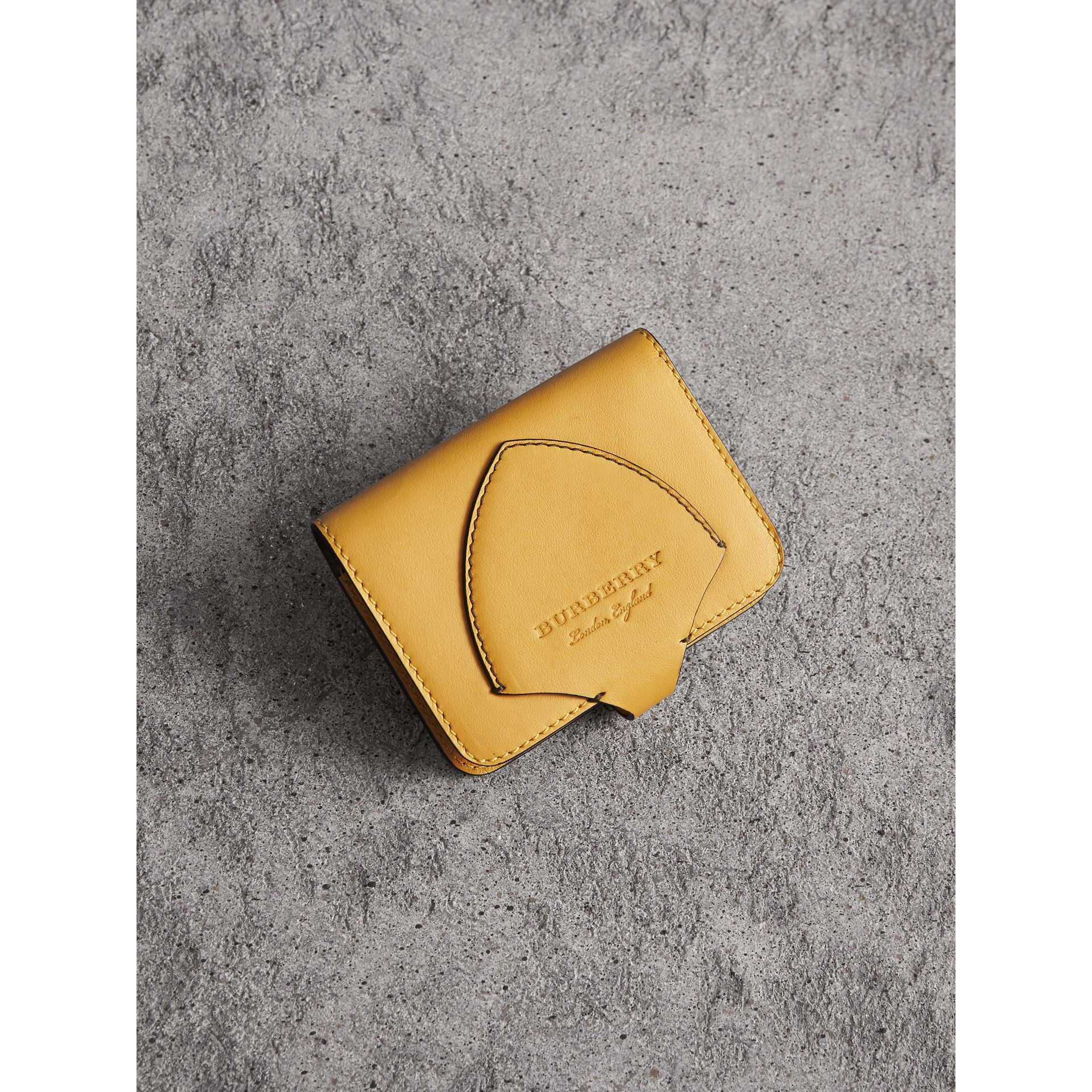 Equestrian Shield Leather Card Case in Larch Yellow | Burberry - gallery image 0