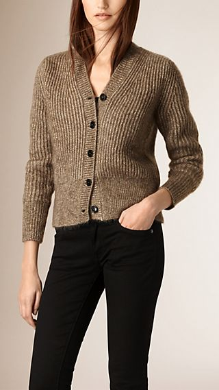 Ribbed Mohair Wool Cardigan