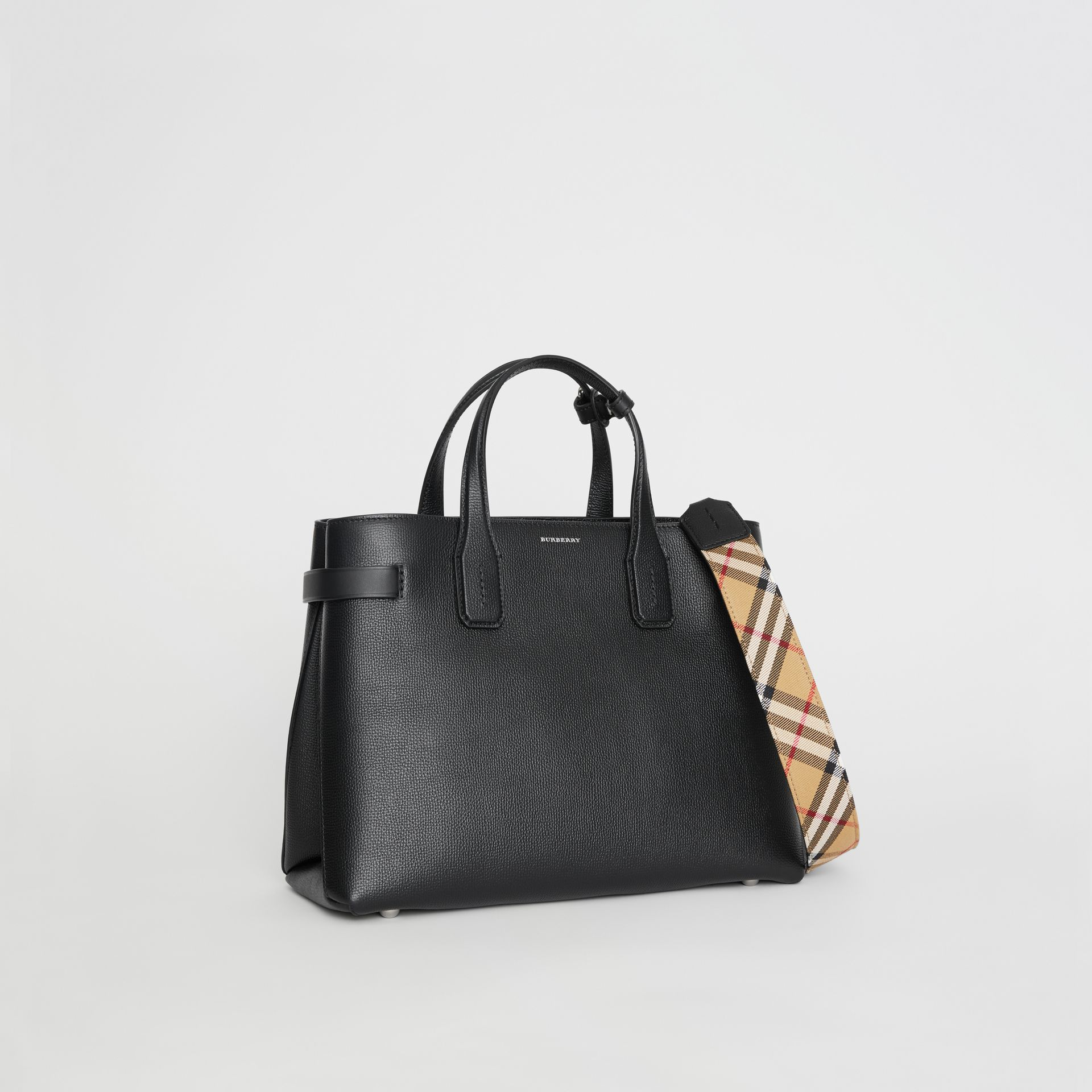 Sac The Banner moyen en cuir et motif Vintage check (Noir) - Femme | Burberry - photo de la galerie 6