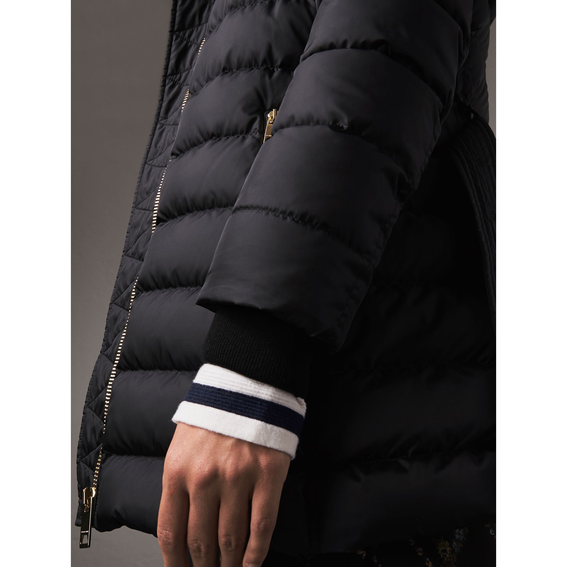 Hooded Down-filled Puffer Jacket in Navy - Women | Burberry United Kingdom - gallery image 1