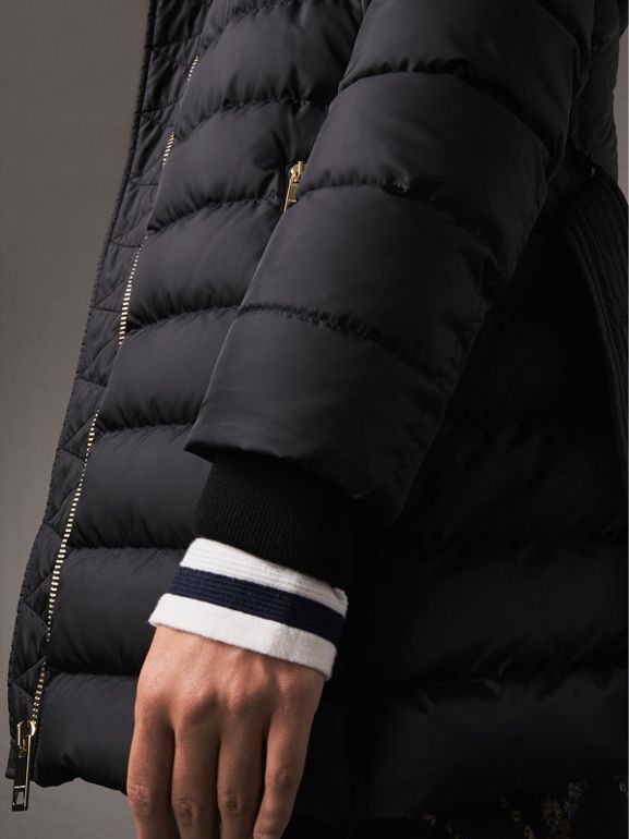 Hooded Down-filled Puffer Jacket in Navy - Women | Burberry - cell image 1