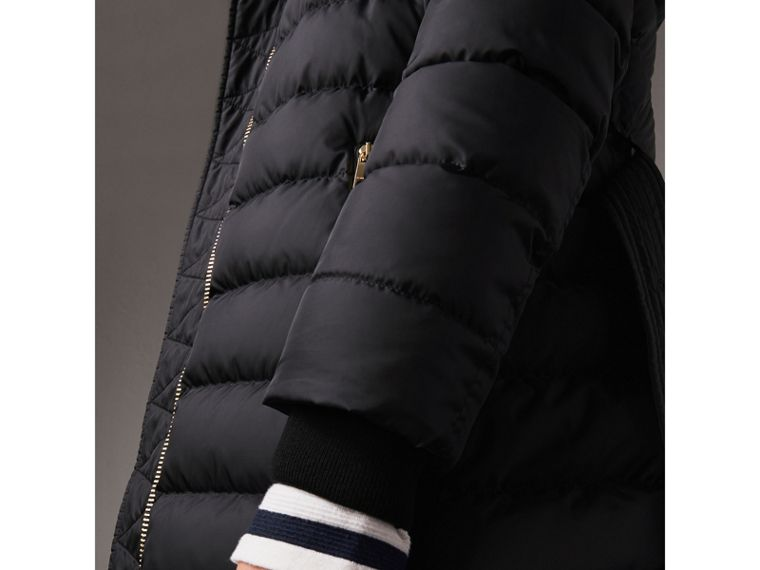 Hooded Down-filled Puffer Jacket in Navy - Women | Burberry Australia - cell image 1