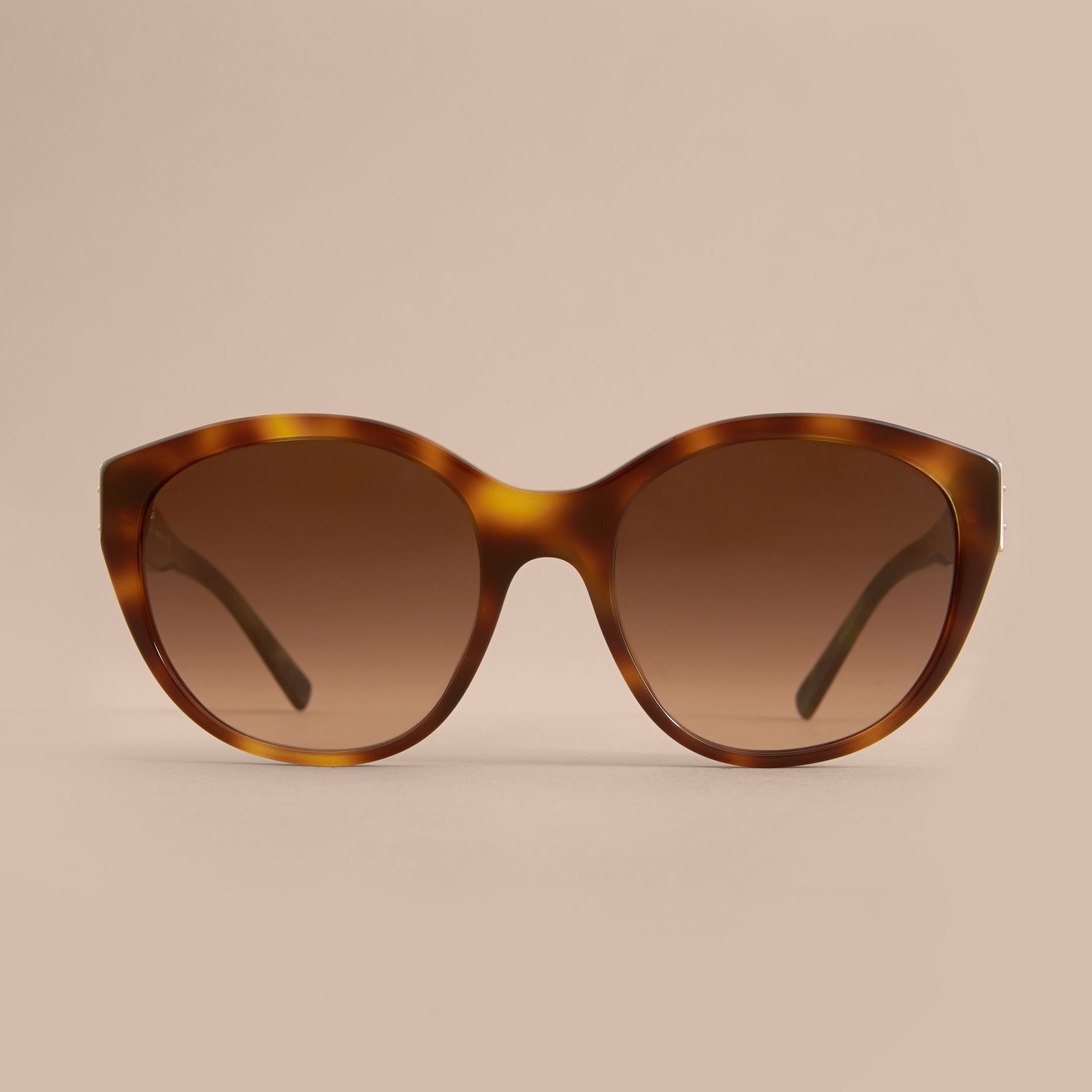 Buckle Detail Round Frame Sunglasses in Tortoise Green - Women | Burberry - gallery image 3
