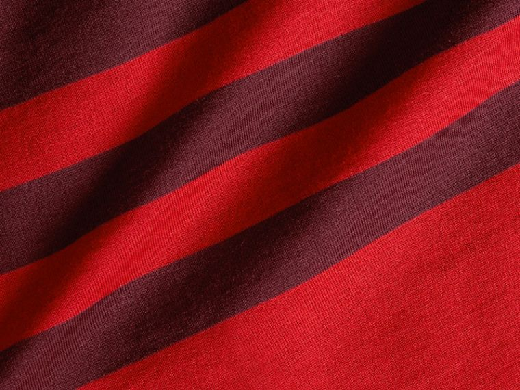 Maroon purple Stripe Print Cotton T-shirt Maroon Purple - cell image 1