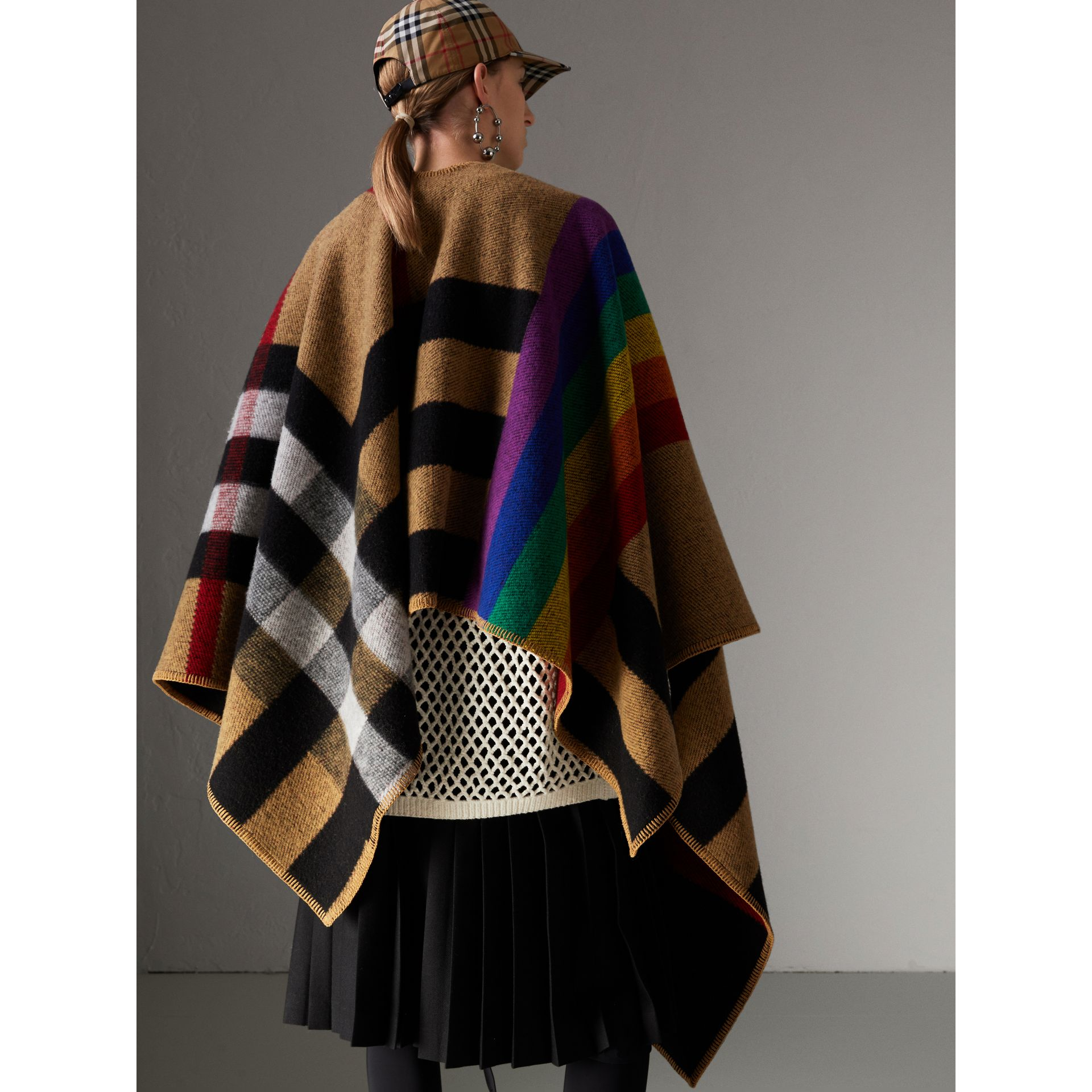 Rainbow Vintage Check Wool Cashmere Poncho in Antique Yellow/rainbow - Women | Burberry Australia - gallery image 4