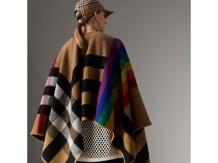 Rainbow Vintage Check Wool Cashmere Poncho in Antique Yellow/rainbow - Women | Burberry Canada - cell image 4