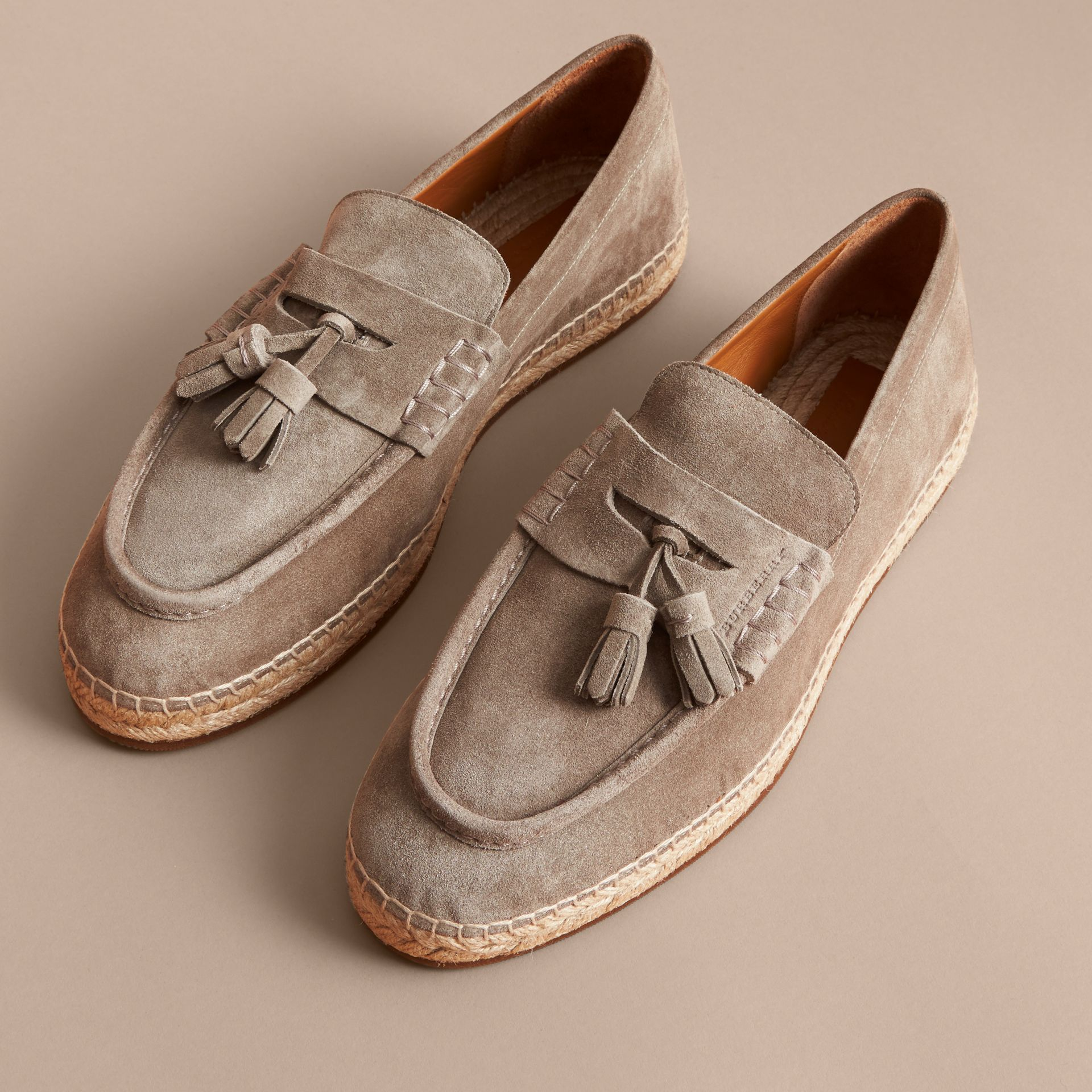 Tasselled Suede Espadrille Loafers in Light Taupe Brown - gallery image 5