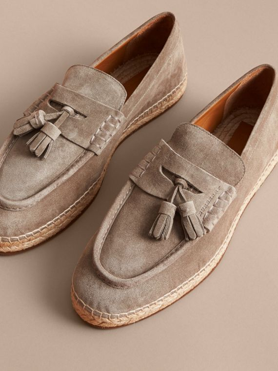 Tasselled Suede Espadrille Loafers Light Taupe Brown - cell image 3