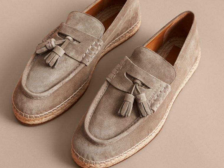 Tasselled Suede Espadrille Loafers in Light Taupe Brown - cell image 4