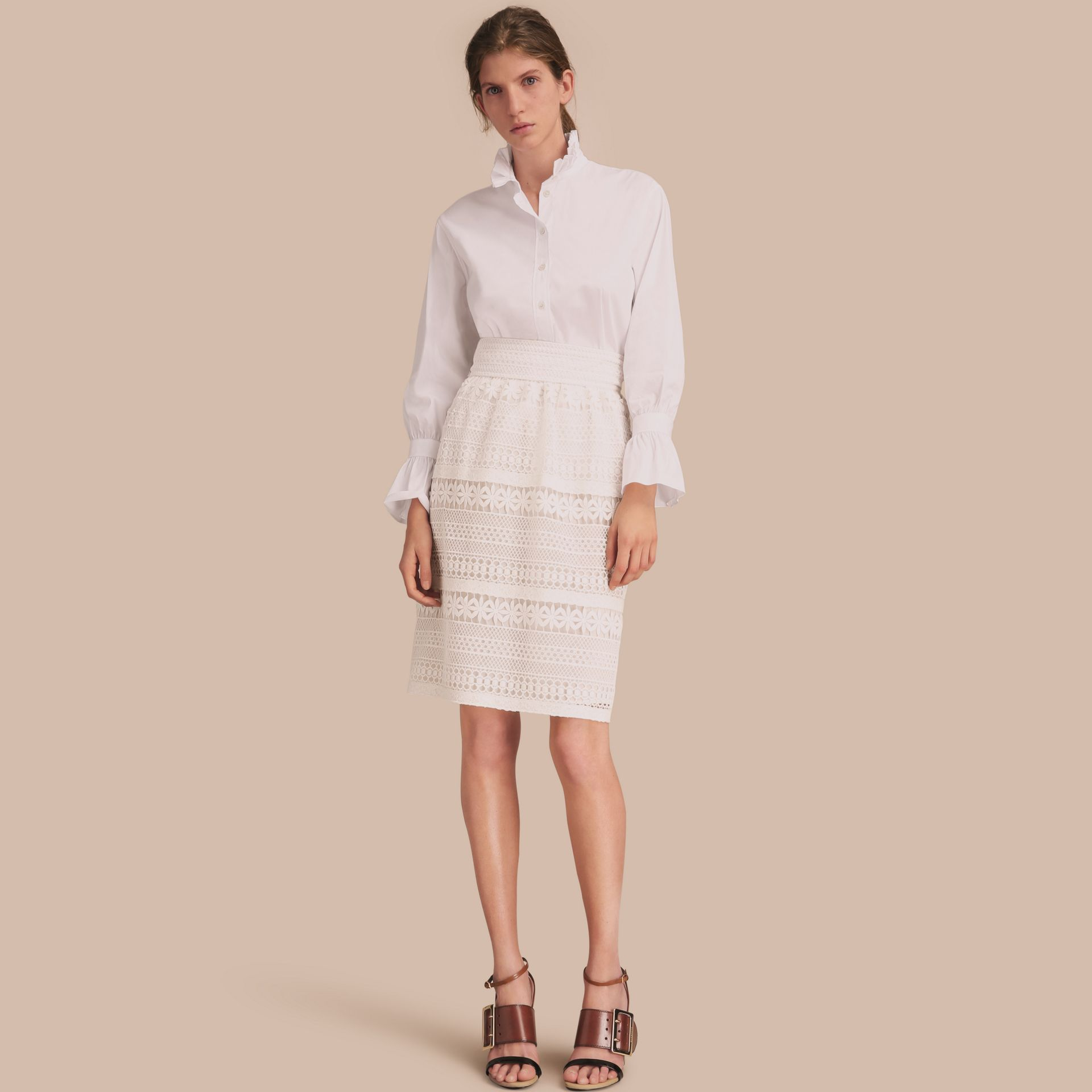 White Ruffle Detail Stretch Cotton Poplin Shirt - gallery image 1